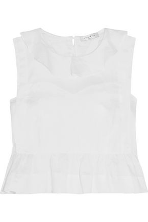 SANDRO Edith frilled voile peplum top