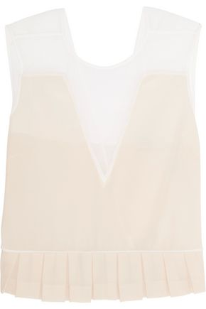 SANDRO Tulle-paneled pleated silk-chiffon top