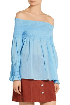 MAJE Off-the-shoulder crinkled cotton-gauze top