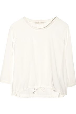 MAJE Larf ribbed knit-trimmed muslin top