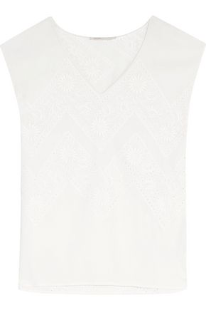 MAJE Loucia broderie anglaise georgette top