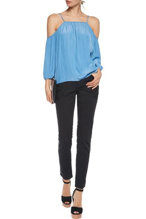 MAJE Cold-shoulder crepe de chine top