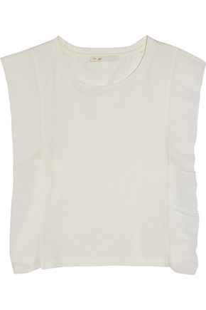 MAJE Plissé chiffon-paneled cotton-jersey top