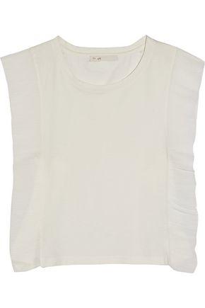 MAJE Plissé chiffon-paneled cotton-jersey top