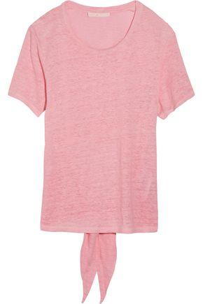 MAJE Touriste knotted slub linen-jersey T-shirt
