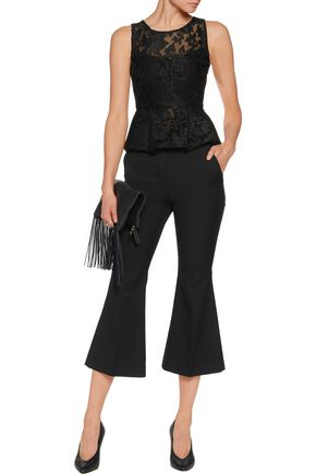 MAJE Embroidered mesh peplum top
