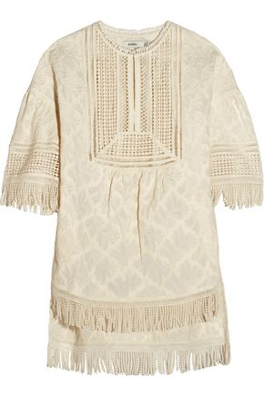 GOEN.J Fringed embroidered cotton top
