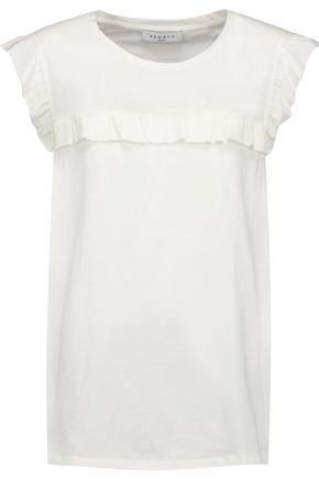 SANDRO Ruffled silk-trimmed cotton top