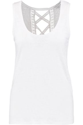 SANDRO Paris Teo cutout lace-trimmed linen top