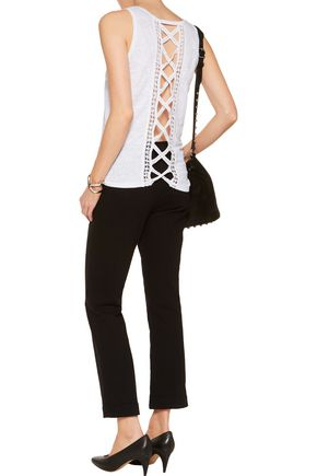 SANDRO Teo cutout lace-trimmed linen top