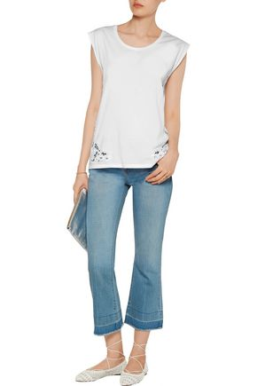 SANDRO Trip lace-trimmed cotton top