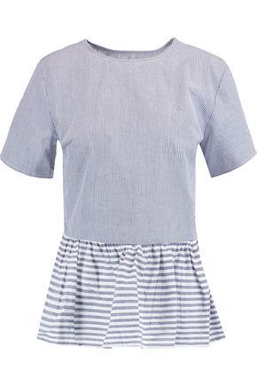 W118 by WALTER BAKER Wylie striped cotton peplum top