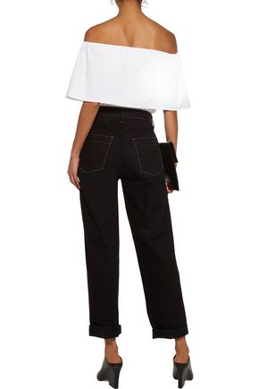 W118 by WALTER BAKER Tori off-the-shoulder layered striped cotton-poplin top
