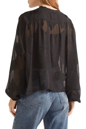 ELIZABETH AND JAMES Frankie fil coupé silk-chiffon blouse