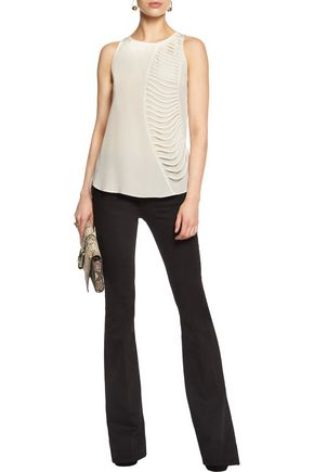 BAILEY 44 Royal Stables cutout silk-chiffon and jersey top