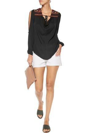 CHELSEA FLOWER Embellished cutout silk-chiffon blouse