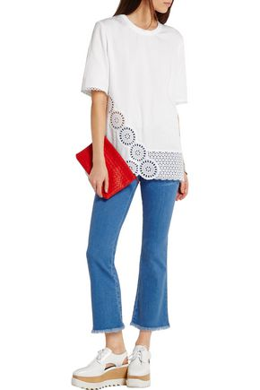 STELLA McCARTNEY Molly broderie anglaise-trimmed cotton-blend T-shirt