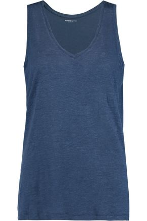 MAJESTIC Linen and silk-blend jersey tank
