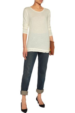MAJESTIC Wool-trimmed cotton and cashmere-blend top