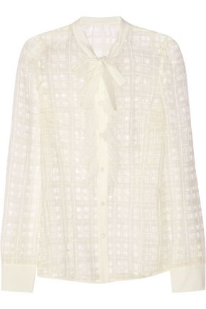 REDValentino Organza-trimmed point d'esprit blouse