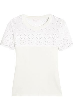 SEE BY CHLOÉ Broderie anglaise-paneled cotton-jersey T-shirt