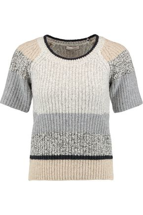 SEE BY CHLOÉ Color-block ribbed-knit wool sweater