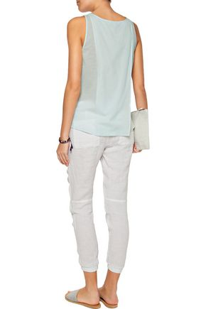 JAMES PERSE Stretch-cotton and silk-blend voile wrap-effect top