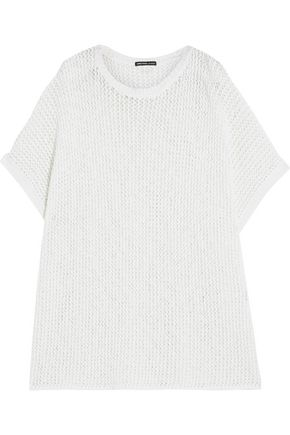 JAMES PERSE Open-knit cotton and linen-blend poncho