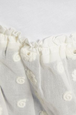 CHLOÉ Broderie anglaise silk-paneled cotton-jersey top