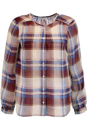 JOIE Safford checked silk-chiffon blouse