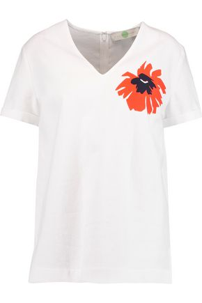 STELLA McCARTNEY Appliquéd waffle-knit cotton top