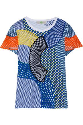 STELLA McCARTNEY Mesh-paneled printed cotton T-shirt