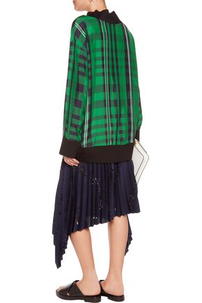 STELLA McCARTNEY Pascale plaid satin-twill top