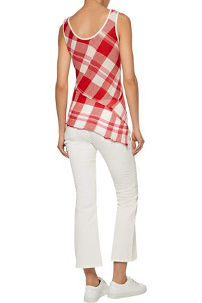 STELLA McCARTNEY Asymmetric checked cotton top