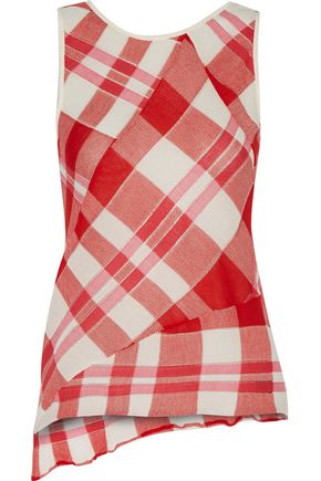 STELLA McCARTNEY Asymmetric checked cotton top