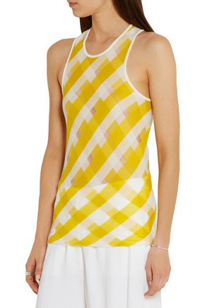 STELLA McCARTNEY Striped cotton-mesh tank