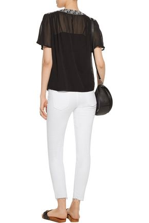 JOIE Roman  gathered embroidered silk-crepe top