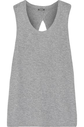 MONROW Knotted cutout stretch-jersey tank