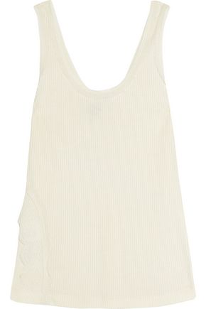 3.1 PHILLIP LIM Lace-paneled ribbed-knit tank