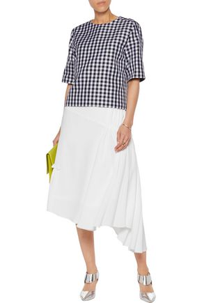 MSGM Gingham cotton-blend twill top