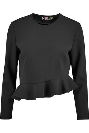 MSGM Cropped ruffled crepe top