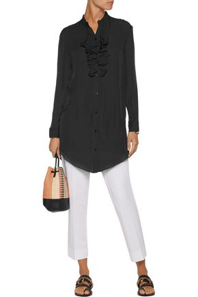 HAUTE HIPPIE Ruffled silk crepe de chine shirt