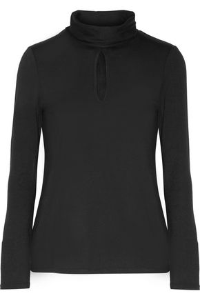 HAUTE HIPPIE Cutout stretch-jersey turtleneck top