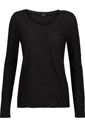 MONROW Knotted cutout stretch-jersey top