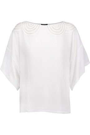 RAOUL Mallow open-knit paneled crepe top