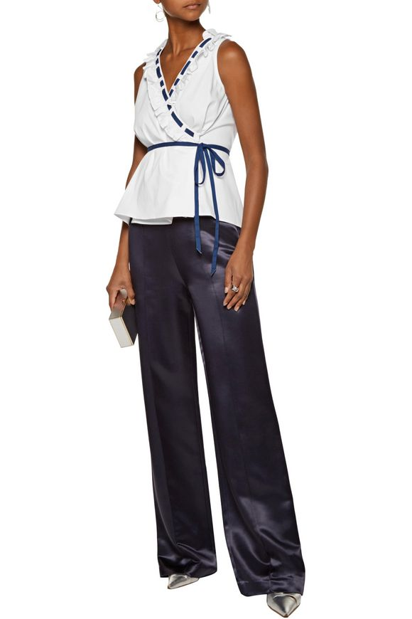 Ruffled stretch cotton-blend poplin wrap top   RAOUL   Sale up to 70% off    THE OUTNET