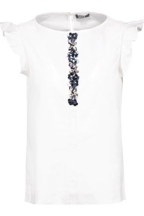 RAOUL Azalea embellished cotton-blend top