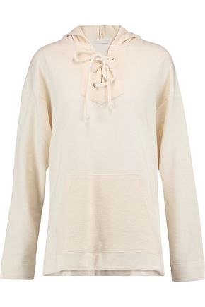 KAIN Apollo lace-up cotton-blend jersey hooded sweatshirt
