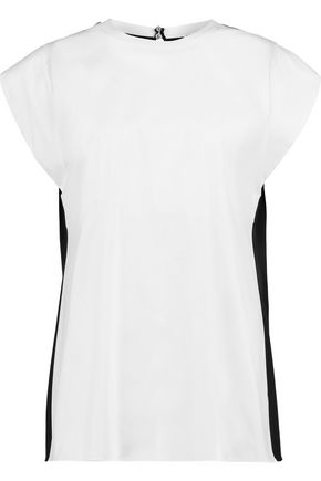 VIONNET Two-tone cotton-blend poplin and stretch-silk top