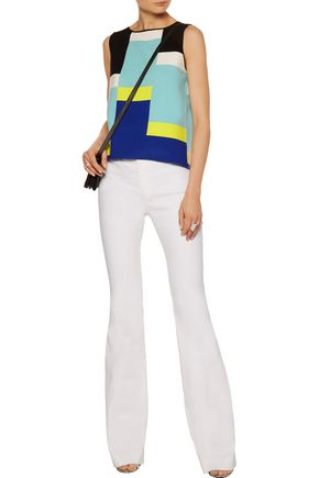 MILLY Color-block intarsia-knit top